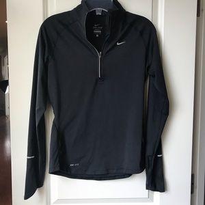 Nike Dri-Fit Black 1/4 Zip Long Sleeve Top S